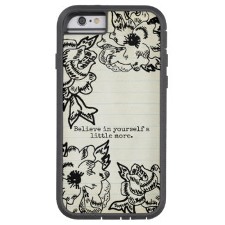Floral Stained Black Flowers Outline Hand Drawn Tough Xtreme iPhone 6 Case