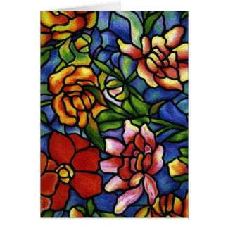 Floral Stained Glass Greeting Card
