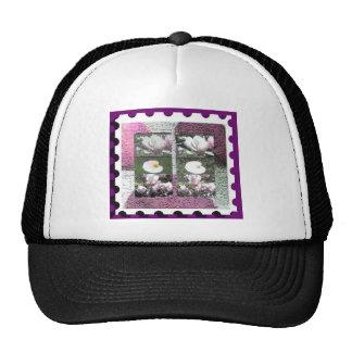 floral stamp hats