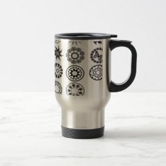 Floral stamps design stainless steel travel mug