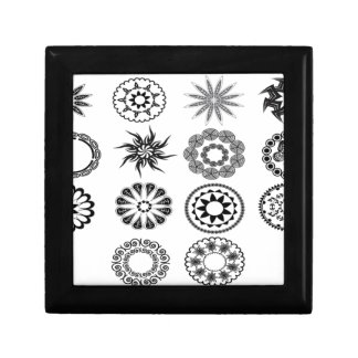Floral stamps design small square gift box