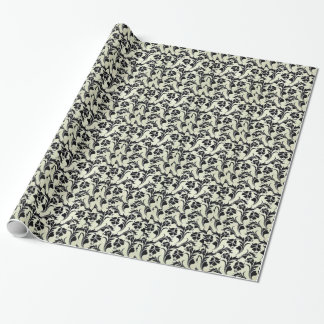 floral standard the black color wrapping paper