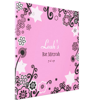 Floral Star of David Bat Mitzvah Sign-In Board Canvas Print