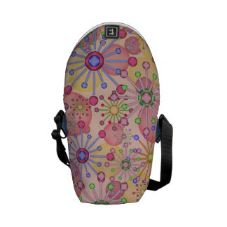 Floral Star with a touch of Circles Motif Backpack Courier Bags