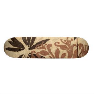 Floral Stencil Design with Tawny Leaves 21.3 Cm Mini Skateboard Deck