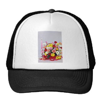 Floral still life  flowers mesh hat