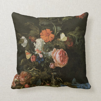 Floral Still Life Flowers in Vase, Vintage Baroque Throw Pillow