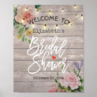 Floral String Lights Bridal Shower Welcome Sign