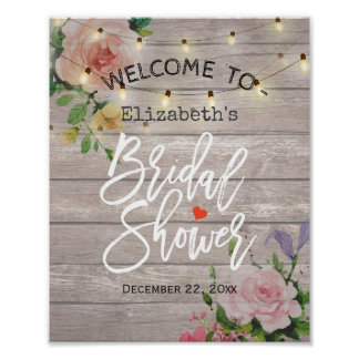 Floral String Lights Bridal Shower Welcome Sign Poster
