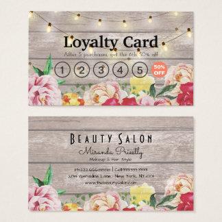 Floral String Lights Rustic Wood Salon Loyalty