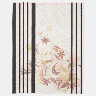 Floral -&- Stripe Fleece Blanket