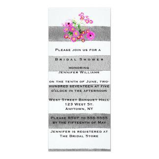 Floral stripe watercolor bridal shower invitations