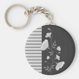 Floral Stripes B&W Keychain