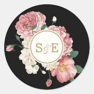 Floral Stripes Favor Sticker / Envelope Seal