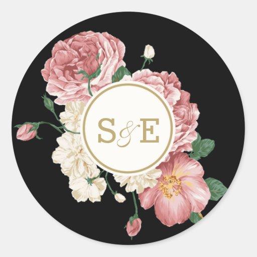 Floral Stripes Favor Sticker / Envelope Seal Stickers
