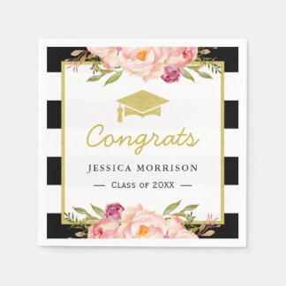 Floral Stripes Glam Congrats Grad Graduation Party Disposable Serviettes