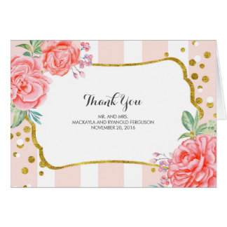 floral stripes - gold confetti wedding thank you card