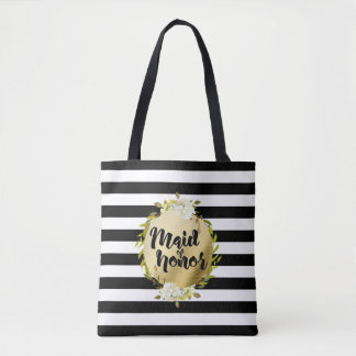 Floral & Stripes Maid of Honor   Tote
