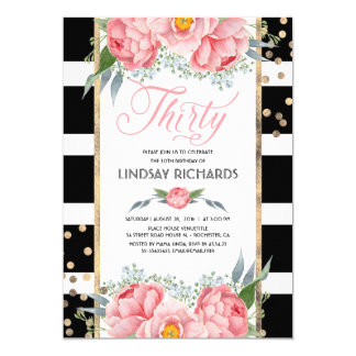 Floral Stripes Modern Gold Decor 30 Birthday Party Card