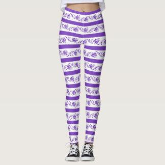 Floral stripes pattern leggings