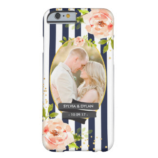Floral Stripes With Gold Foil Wedding Custom Photo Barely There iPhone 6 Case