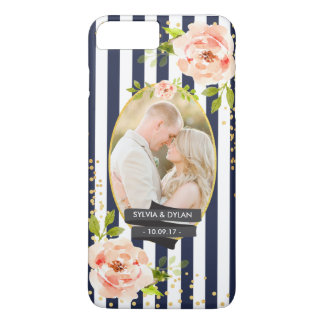 Floral Stripes With Gold Foil Wedding Custom Photo iPhone 7 Plus Case