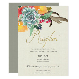 FLORAL SUCCULENT ANTLER BOHEMIAN ALLURE  RECEPTION CARD