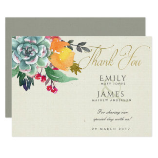 FLORAL SUCCULENT ANTLER BOHEMIAN ALLURE  THANK YOU CARD