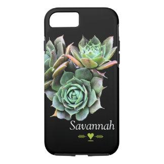 Floral Succulent on Black iphone 5 case