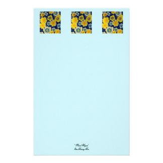 Floral Sugar Fine Linen Notepaper Custom Stationery