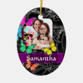Floral sugar skull and butterflies ceramic ornament