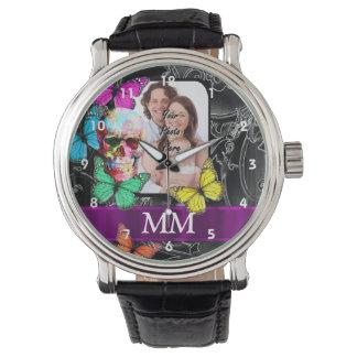 Floral sugar skull, butterflies and monogram wristwatches