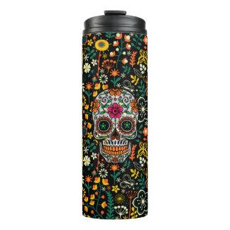 Floral Sugar Skull & Colorful Flowers Pattern Thermal Tumbler