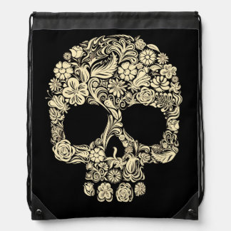 Floral Sugar Skull Drawstring Backpack