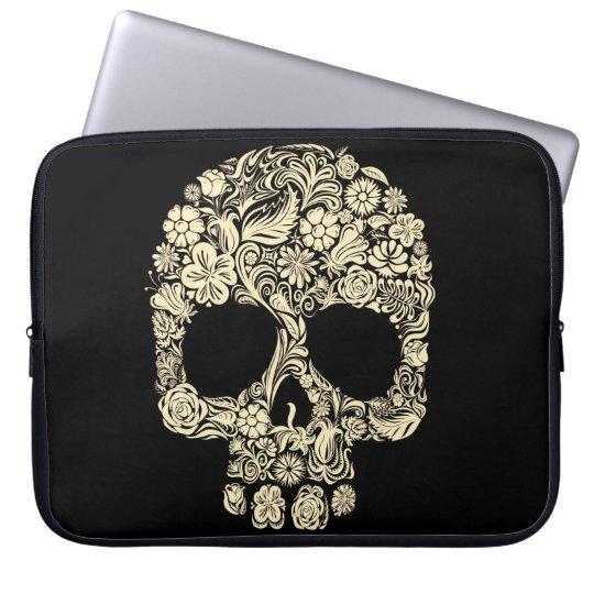 Floral Sugar Skull Neoprene Laptop Sleeve