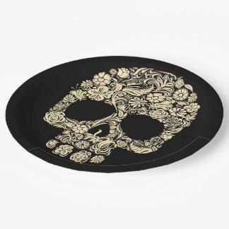 Floral Sugar Skull Paper Plate