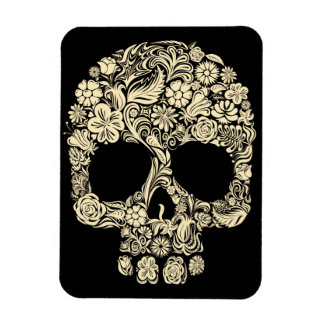 Floral Sugar Skull Photo Magnet