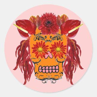 Floral Sugar Skull Sticker