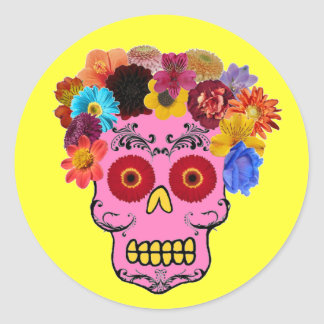 Floral Sugar Skull Round Sticker