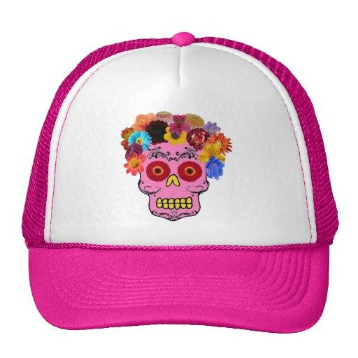 Floral Sugar Skull Trucker Hat