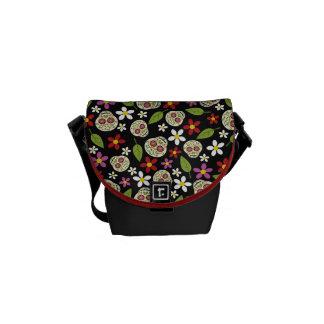 Floral Sugar Skulls Print Messenger Bag
