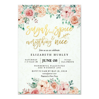 Floral Sugar & Spice & Everything Nice Baby Shower Card