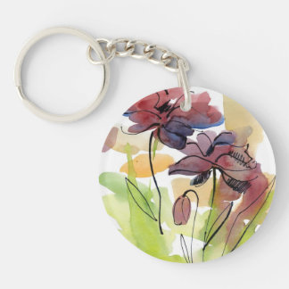Floral summer design with hand-painted abstract 2 keychains