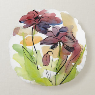 Floral summer design with hand-painted abstract 2 round cushion