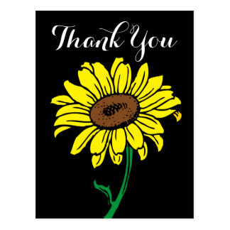 Floral Sunflower Thank You Black & Yellow Flowers Postcard