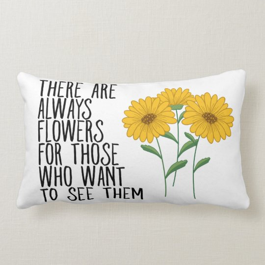 Floral Sunflowers Attitude Life Quote Dreams Goals Lumbar Cushion