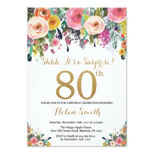 Floral Surprise 80th Birthday Invitation Gold