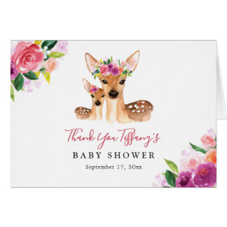 Floral Sweet Deer Mom And Baby Baby Shower Card