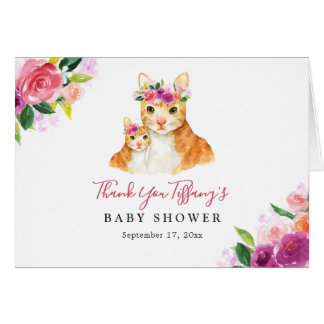 Floral Sweet Mom And Baby Cat Baby Shower Card
