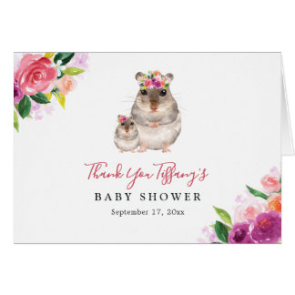 Floral Sweet Mom And Baby Mouse Baby Shower Card